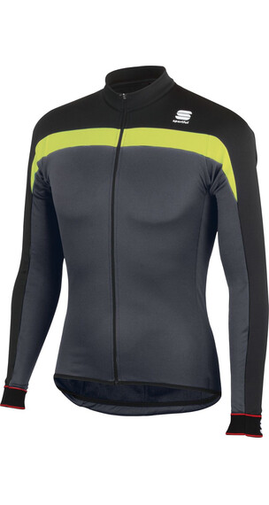 Sportful Pista Thermal Jersey Men Anthracite/Black/Yellow Fluo